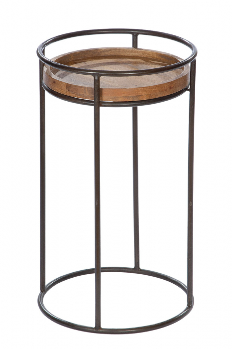 Masuta RONDO, metal/lemn, 60x35 cm [0]