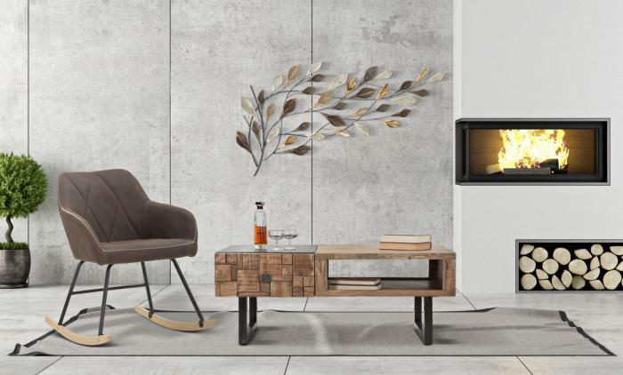 Masuta Mumbai, lemn de acacia fier, negru maro, 110X60X43 cm imagine 2021 lotusland.ro