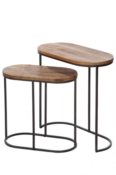 Set 2 masute ovale GILDE, metal/lemn, 60x30 0