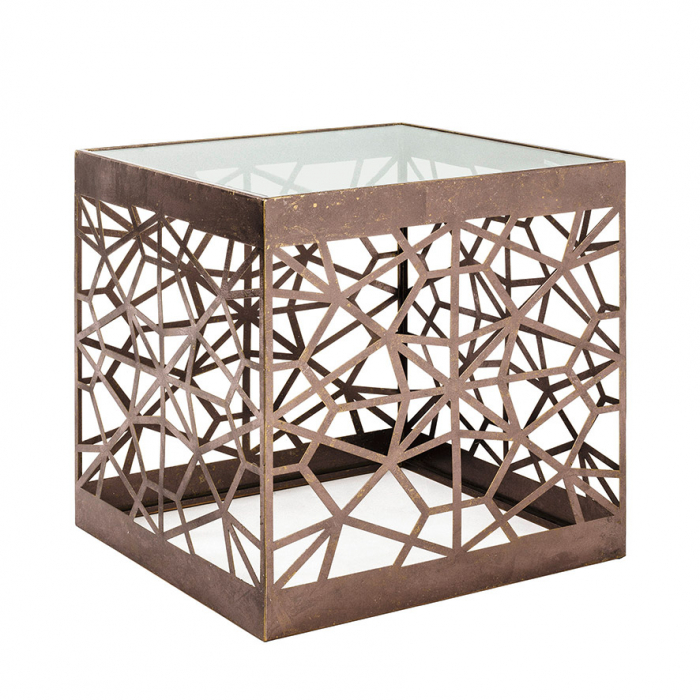 Masuta cub FILIA, metal/sticla, 50x50x50 cm [0]