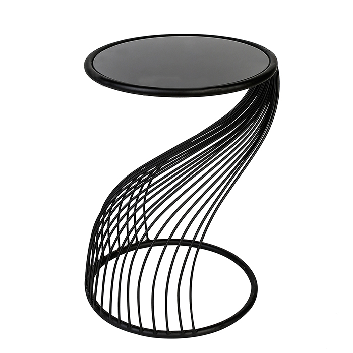 Masuta Ray metal/sticla, negru, 54x35 cm [1]