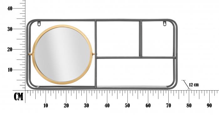Oglinda rotunda cu rafturi INDUSTRY CM 74,5X12X35, Mauro Ferretti 5