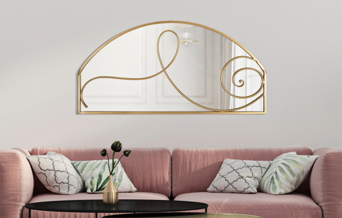 Oglinda de perete Art, fier oglinda MDF, auriu, 120X2.5X60 cm 2021 lotusland.ro