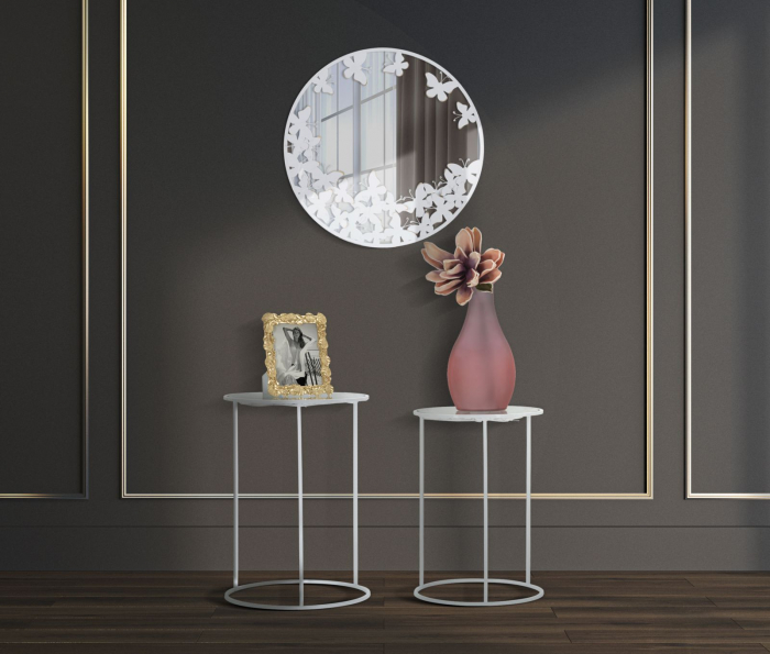 Oglinda de perete Butterfly, fier MDF oglinda, alb auriu, 62.5X2.3 cm imagine 2021 lotusland.ro