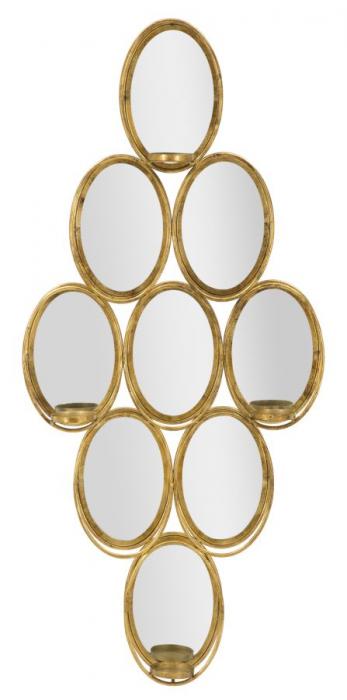 Oglinda de perete cu Suport lumanare GLAM, 54X10X118 cm, Mauro Ferretti 0