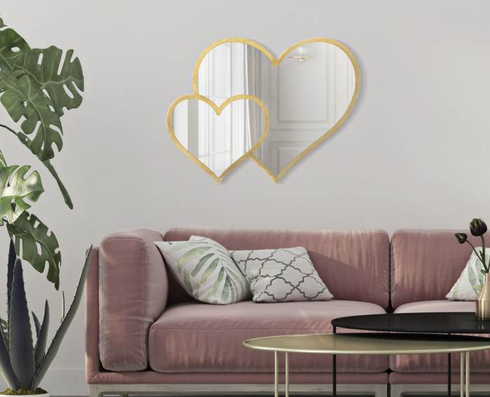 Oglinda de perete Double heart, fier oglinda MDF, auriu, 65X2X50 cm 2021 lotusland.ro