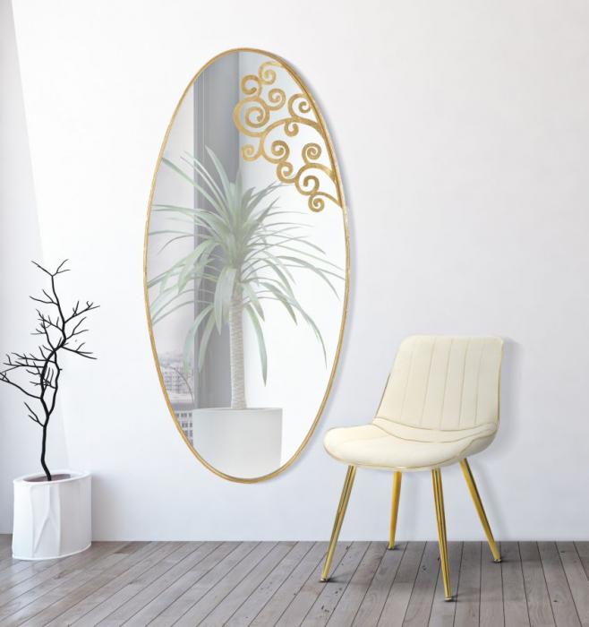 Oglinda de perete, fier oglinda MDF, 76.2X2X160.5 cm lotusland.ro