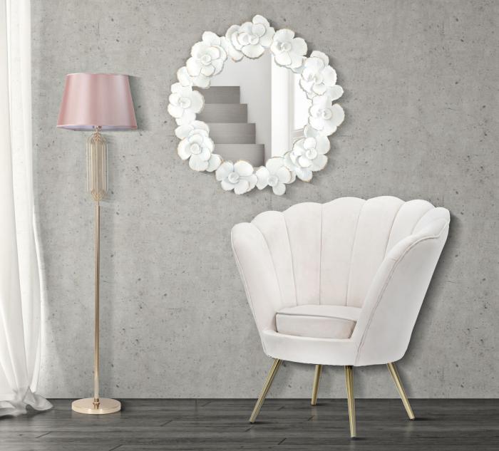 Oglinda de perete Flower,fier oglinda MDF, alb auriu, 82X2.6X85.5 cm imagine 2021 lotusland.ro