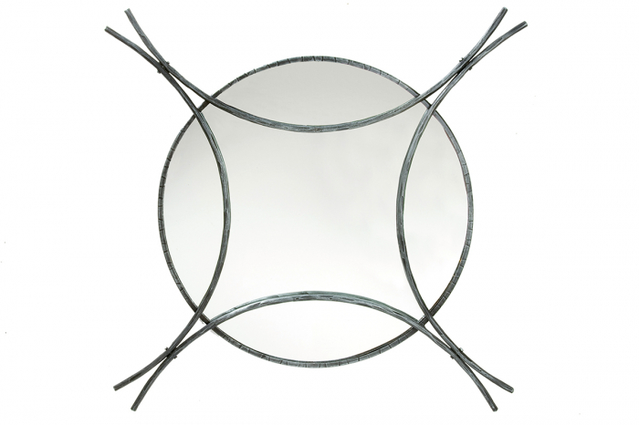 Oglinda forjata manual VULCANO, otel, 90x90x60 cm imagine 2021 lotusland.ro