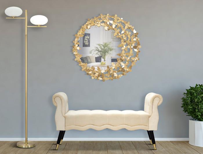 Oglinda GLAM BUTTERFLY WIND, 81.5X3.5 cm (oglinda Ø55 cm), Mauro Ferretti [0]
