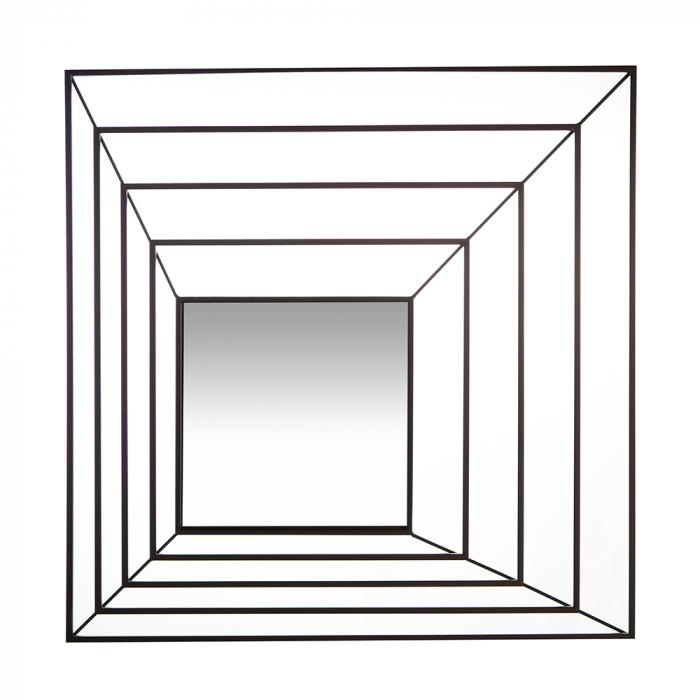 Oglinda suspendata Shift, metal, neagru, 15x70x70 cm lotusland.ro
