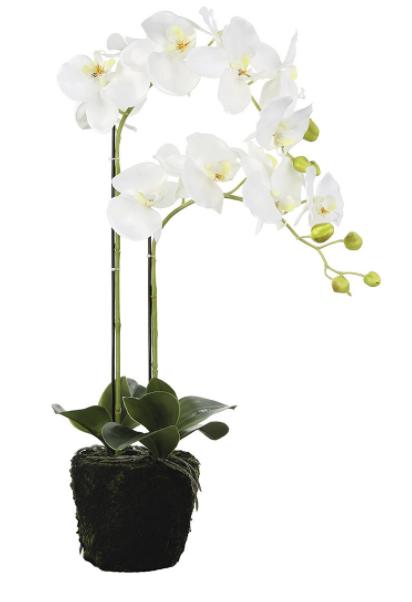Orhidee la ghiveci, artificiala, alb, 80x15 cm [0]