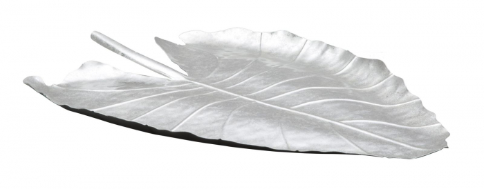 Platou decorativ Leaf, fier, argintiu, 32X3X47.5 cm imagine 2021 lotusland.ro
