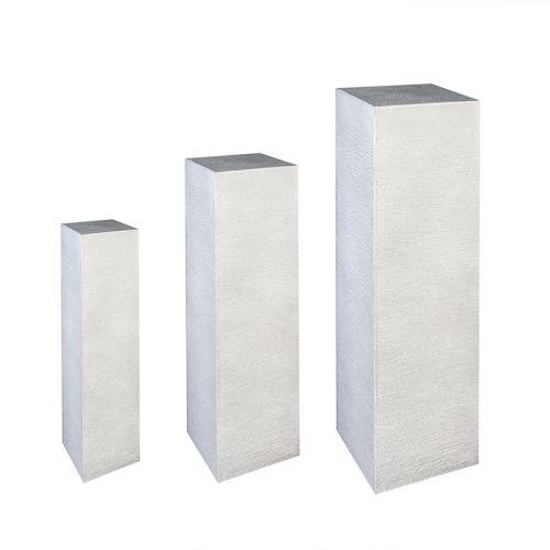 Set 3 postamente interior exterior STRIPES, compozit, alb, 20x20x80, 28x28x100 cm, 34x34x120 imagine 2021 lotusland.ro
