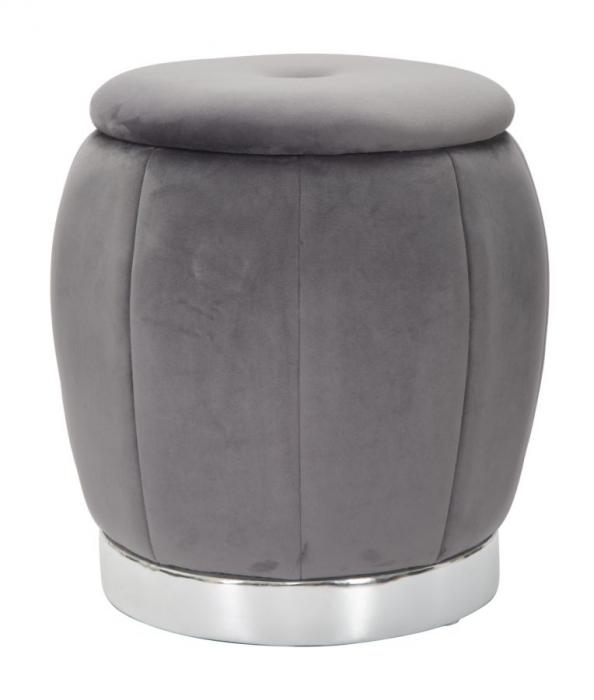 Puf cu spatiu depozitare PARIS gri/argintiu (cm) Ø 43X43 0