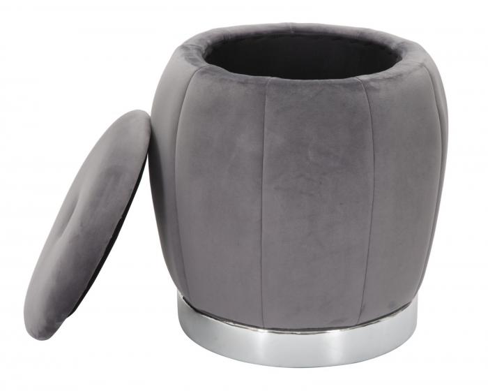 Puf cu spatiu depozitare PARIS gri/argintiu (cm) Ø 43X43 3