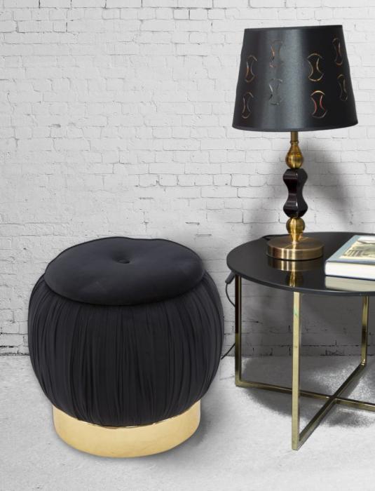 Puf cu spatiu depozitare PARIS, negru, 41X41 cm, Mauro Ferretti 0