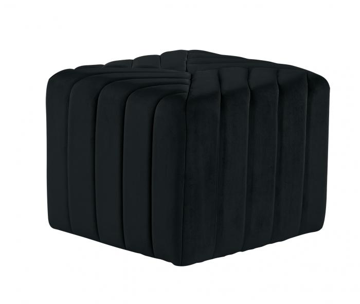 Puf MONTREAL, textil, negru, 43.5x36.5x43.5 cm 1