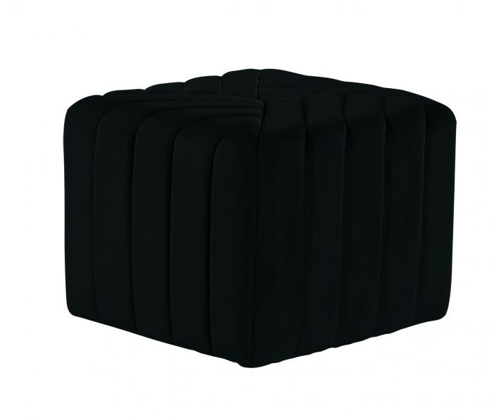 Puf MONTREAL, textil, negru, 43.5x36.5x43.5 cm 0