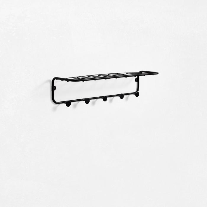 Raft de perete cu cuier IJI, Metal, Negru, 55x14.5x12.5 cm imagine 2021 lotusland.ro