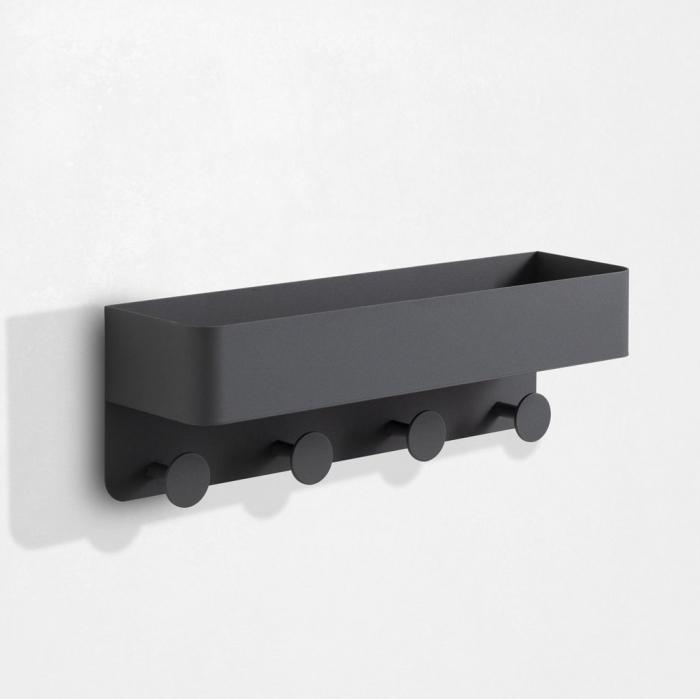 Raft de perete cu cuier LOU, Metal, Gri, 45x12x15 cm imagine 2021 lotusland.ro