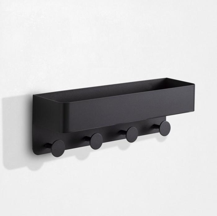 Raft de perete cu cuier LOU, Metal, Negru, 45x12x15 cm lotusland.ro