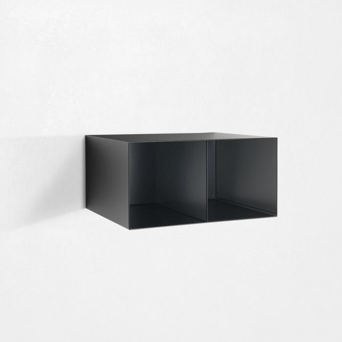 Raft dublu de perete RIINO 4, Metal, Negru, 55x45x27.5 cm lotusland.ro