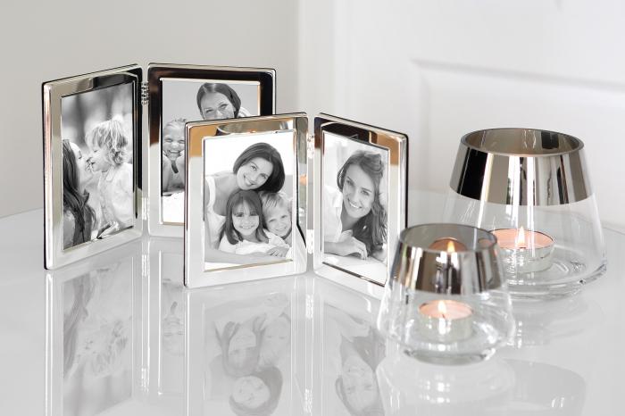 Rama foto dubla Classic, Sticla Placat cu argint Zinc, Argintiu, 11.20x1.80x15 cm lotusland.ro