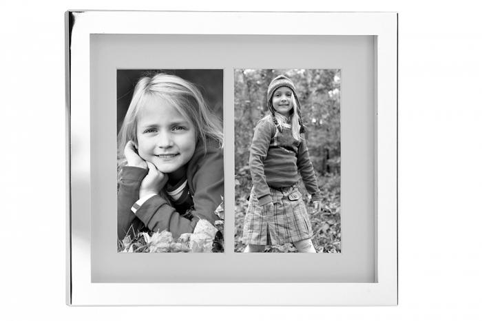 Rama foto dubla BEN, placata cu argint ,  22.5X27.5 cm 0