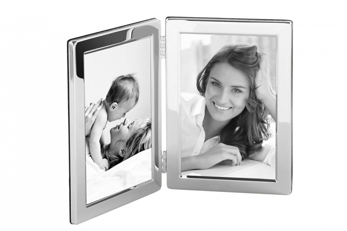 Rama foto dubla CLASSIC, placata cu argint, 17.5x25 cm 1