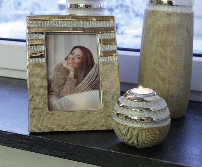 Rama foto Newtown, ceramica, crem/argintiu, 18x22.5x1.5 cm 0