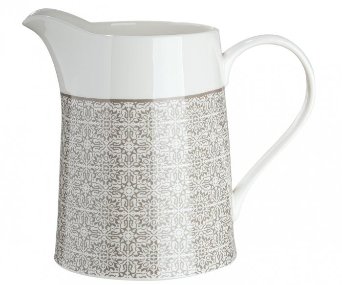 Recipient pentru lapte Grey Ornament, portelan, gri crem, 20x17.5x12.8 cm lotusland.ro