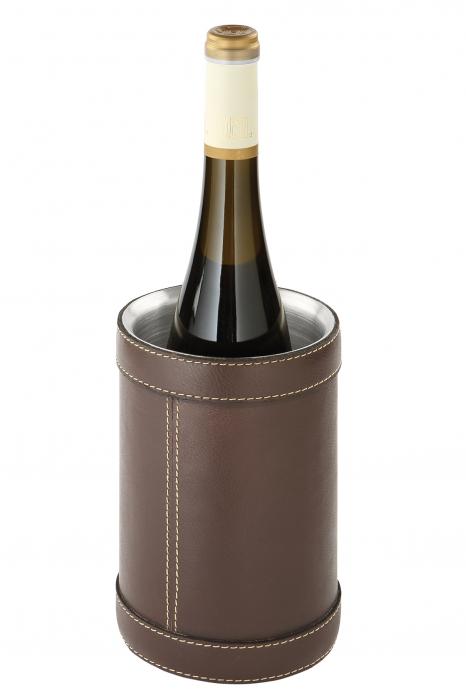 Recipient racire vin Maretti, Piele Otel, Maro, 20x12 cm imagine 2021 lotusland.ro