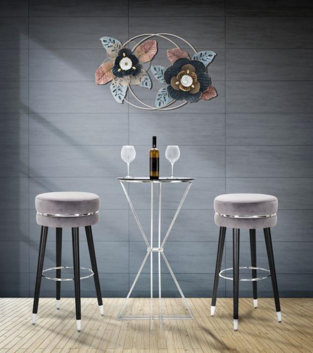 Scaun de bar, Paris, lemn textil, gri negru argintiu O 35X74 cm lotusland.ro
