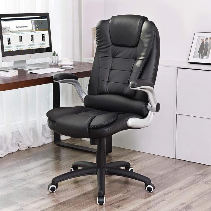 Scaun de birou, piele ecologica, negru imagine 2021 lotusland.ro