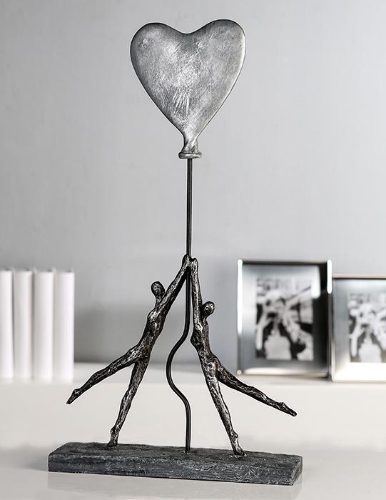Figurina HEART-BALLOON, rasina, 26x8x48 cm 2021 lotusland.ro
