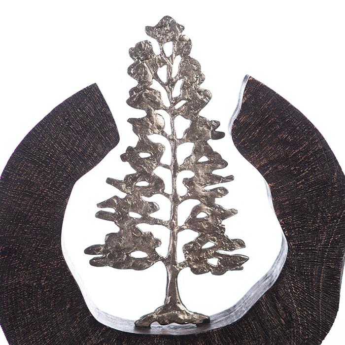 Sculptura FIR TREE, aluminiu/lemn, 39x6x36 cm 4