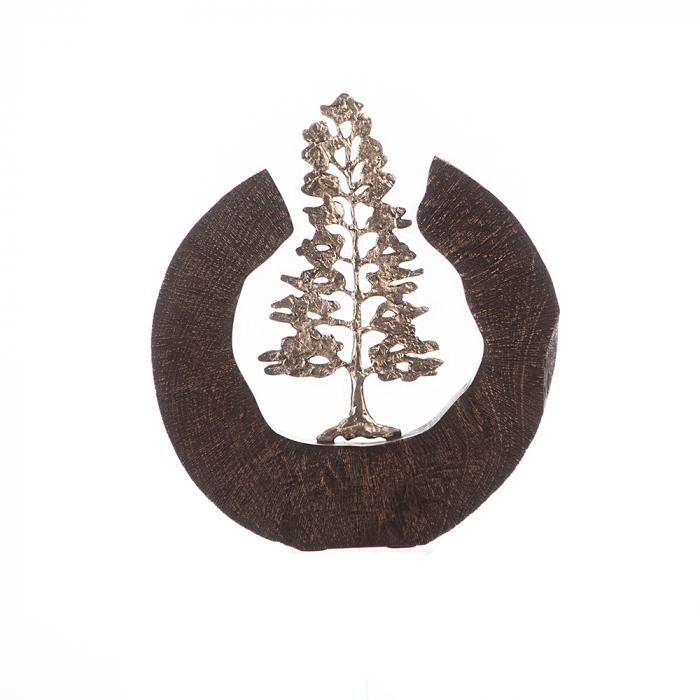 Sculptura FIR TREE, aluminiu/lemn, 39x6x36 cm 0