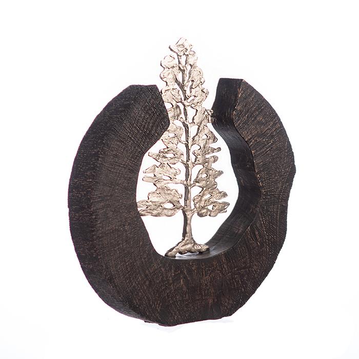 Sculptura FIR TREE, aluminiu/lemn, 39x6x36 cm 1