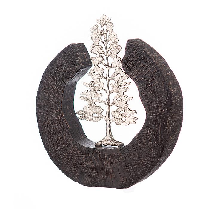 Sculptura FIR TREE, aluminiu/lemn, 39x6x36 cm 2