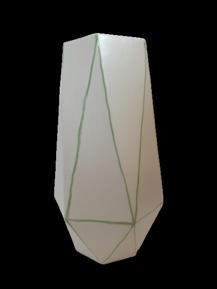 Set 1 lampa cu 1 vaza STRIPES, ceramica, alb/verde, 40/34 cm 2