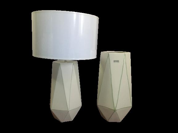 Set 1 lampa cu 1 vaza STRIPES, ceramica, alb/verde, 40/34 cm 0
