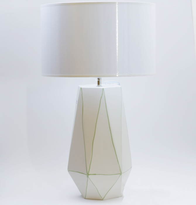 Set 1 lampa cu 1 vaza STRIPES, ceramica, alb/verde, 40/34 cm 1