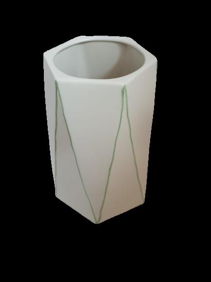 Set 1 lampa cu 1 vaza STRIPES, ceramica, alb/verde, 40/34 cm 4