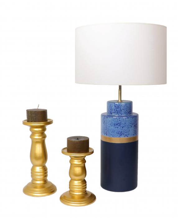 Set 1 Lampa cu 2 sfesnice TOWER, ceramica, albastru/auriu, 37/40/30 cm 0