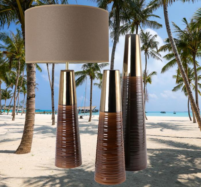 Set 1 Lampa cu 2 Vaze CHEDI, ceramica, maro/auriu, 42/57/42 cm 0