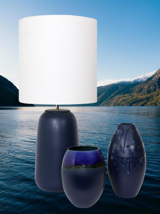 Set 1 Lampa cu 2 vaze HORY, ceramica, albastru, 35 23.5 30 cm 2021 lotusland.ro