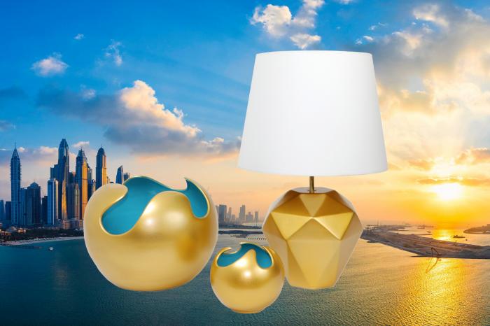 Set 1 Lampa cu 2 Vaze WAVES, ceramica, auriu albastru, 23 27 22.5 cm imagine 2021 lotusland.ro