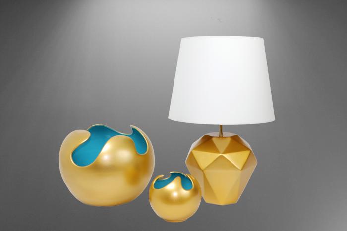 Set 1 Lampa cu 2 Vaze WAVES, ceramica, auriu/albastru, 23/27/22.5 cm 1