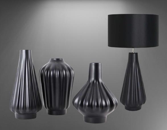 Set 1 Lampa cu 3 Vaze KNOPPER, ceramica, negru, 34/34/30/28 cm [2]